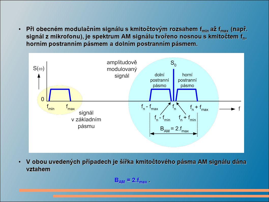 Při obecném modulačním signálu s kmitočtovým rozsahem f min až f max (např.