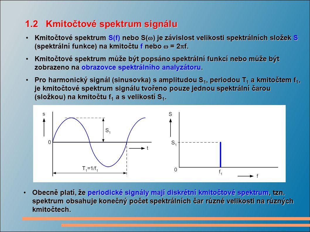 Kmitočtové spektrum S(f) nebo S(  ) je závislost velikosti spektrálních složek S (spektrální funkce) na kmitočtu f nebo  = 2  f.Kmitočtové spektrum S(f) nebo S(  ) je závislost velikosti spektrálních složek S (spektrální funkce) na kmitočtu f nebo  = 2  f.