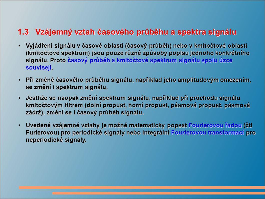 Vyjádření signálu v časové oblasti (časový průběh) nebo v kmitočtové oblasti (kmitočtové spektrum) jsou pouze různé způsoby popisu jednoho konkrétního signálu.