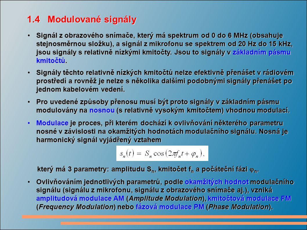 Signál z obrazového snímače, který má spektrum od 0 do 6 MHz (obsahuje stejnosměrnou složku), a signál z mikrofonu se spektrem od 20 Hz do 15 kHz, jsou signály s relativně nízkými kmitočty.