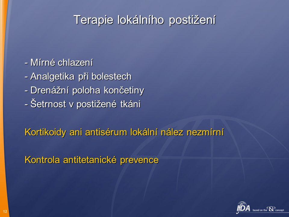 12 Terapie lokálního postižení - Mírné chlazení - Analgetika při bolestech - Drenážní poloha končetiny - Šetrnost v postižené tkáni Kortikoidy ani ant