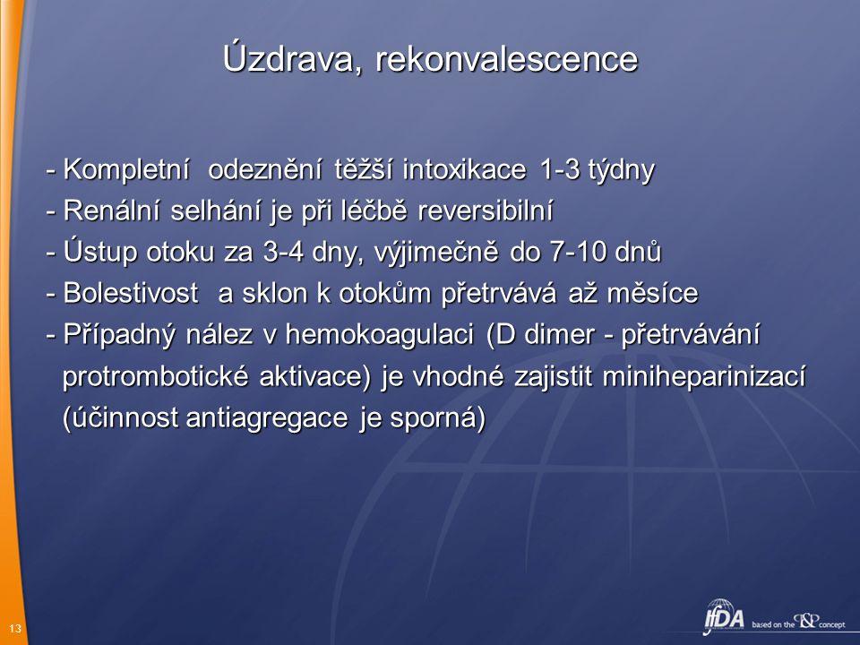 13 Úzdrava, rekonvalescence - Kompletní odeznění těžší intoxikace 1-3 týdny - Renální selhání je při léčbě reversibilní - Ústup otoku za 3-4 dny, výji
