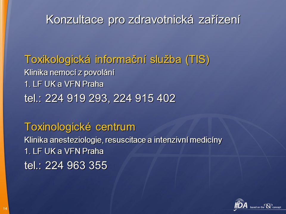 14 Konzultace pro zdravotnická zařízení Toxikologická informační služba (TIS) Klinika nemocí z povolání 1. LF UK a VFN Praha tel.: 224 919 293, 224 91