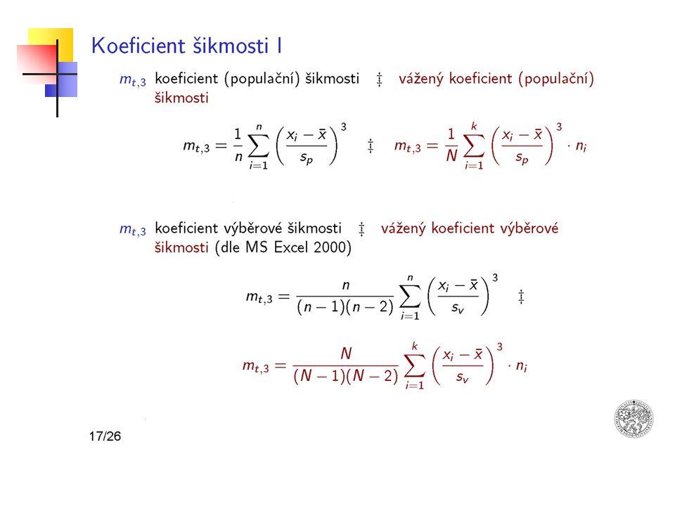Koeficient špičatosti anglicky kurtosis - popisuje plochost či špičatost hustoty rozložení - měří koncentraci hodnot kolem střední hodnoty - výsledkem je reálné číslo - špičatost = 3 odpovídá koncentraci hodnot normálního rozdělení Modifikovaný koeficient špičatosti - dostaneme, když odečteme od koeficientu špičatosti číslo 3 Vzorec pro modifikovaný výpočet špičatosti můžeme zapsat takto: Takto definovaná šikmost je pro normální rozdělení rovna 0