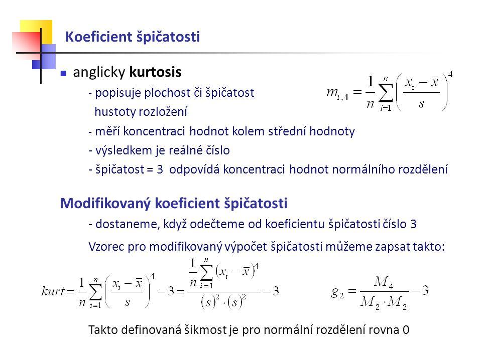 Koeficient špičatosti anglicky kurtosis - popisuje plochost či špičatost hustoty rozložení - měří koncentraci hodnot kolem střední hodnoty - výsledkem