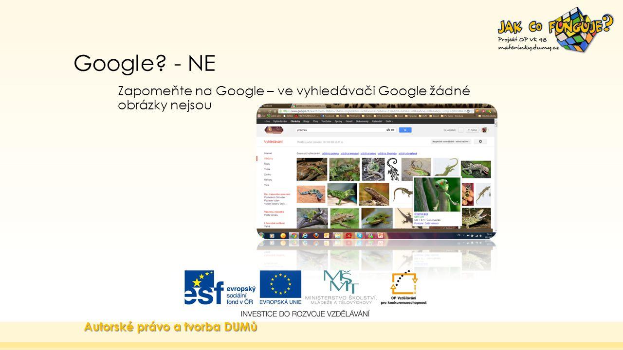 Google? - NE Zapomeňte na Google – ve vyhledávači Google žádné obrázky nejsou Autorské právo a tvorba DUMů