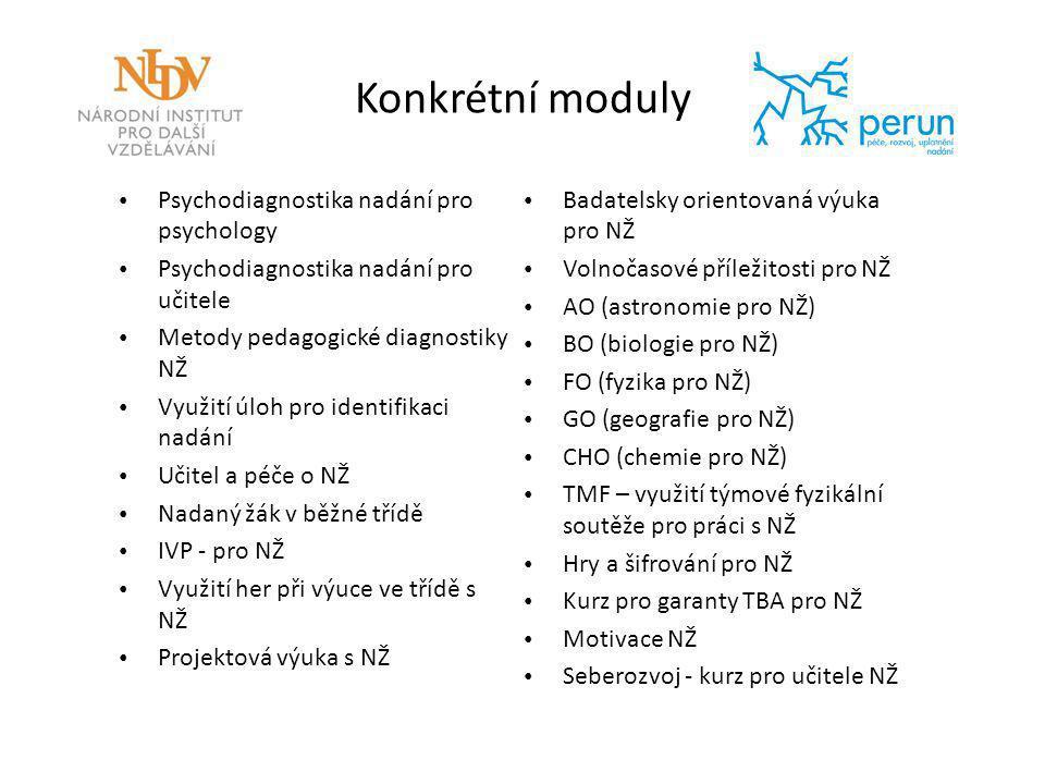 Konkrétní moduly Psychodiagnostika nadání pro psychology Psychodiagnostika nadání pro učitele Metody pedagogické diagnostiky NŽ Využití úloh pro ident