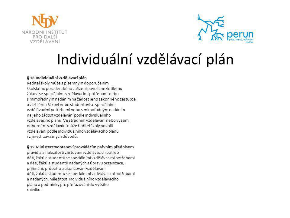 Individuální vzdělávací plán § 18 Individuální vzdělávací plán Ředitel školy může s písemným doporučením školského poradenského zařízení povolit nezle