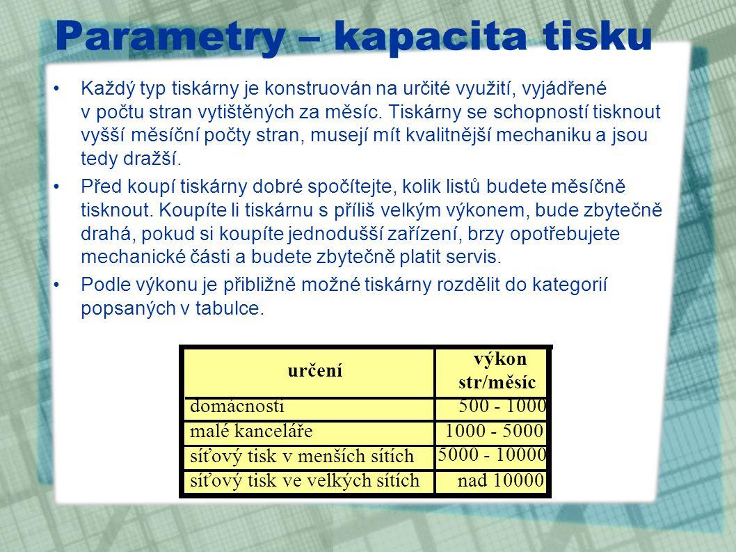 Parametry – kapacita tisku Každý typ tiskárny je konstruován na určité využití, vyjádřené v počtu stran vytištěných za měsíc.