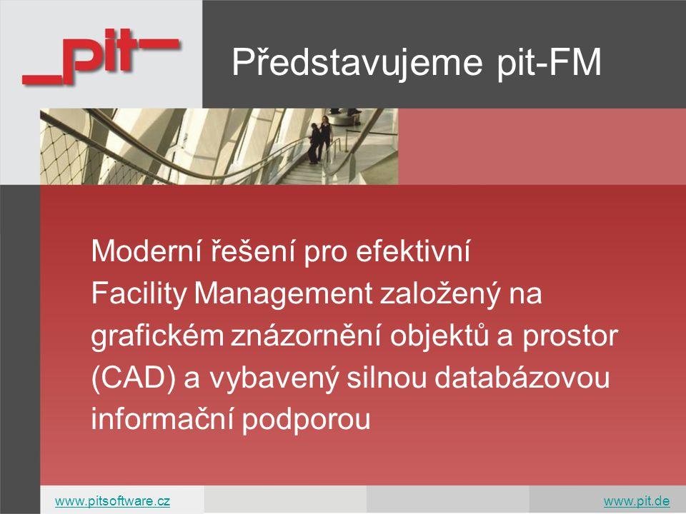 Představujeme pit-FM Moderní řešení pro efektivní Facility Management založený na grafickém znázornění objektů a prostor (CAD) a vybavený silnou databázovou informační podporou www.pitsoftware.czwww.pitsoftware.cz www.pit.dewww.pit.de