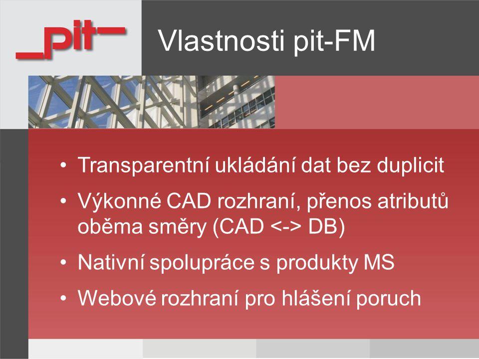 Vlastnosti pit-FM Transparentní ukládání dat bez duplicit Výkonné CAD rozhraní, přenos atributů oběma směry (CAD DB) Nativní spolupráce s produkty MS Webové rozhraní pro hlášení poruch