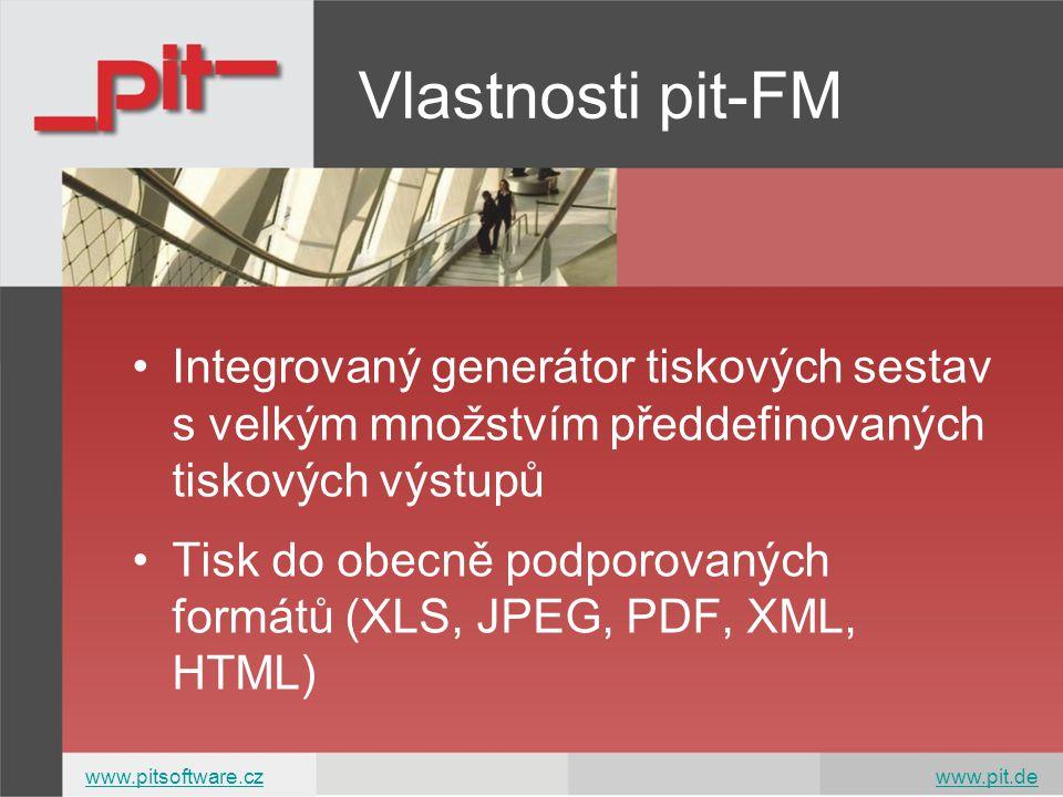 Integrovaný generátor tiskových sestav s velkým množstvím předdefinovaných tiskových výstupů Tisk do obecně podporovaných formátů (XLS, JPEG, PDF, XML, HTML) Vlastnosti pit-FM www.pitsoftware.czwww.pitsoftware.cz www.pit.dewww.pit.de