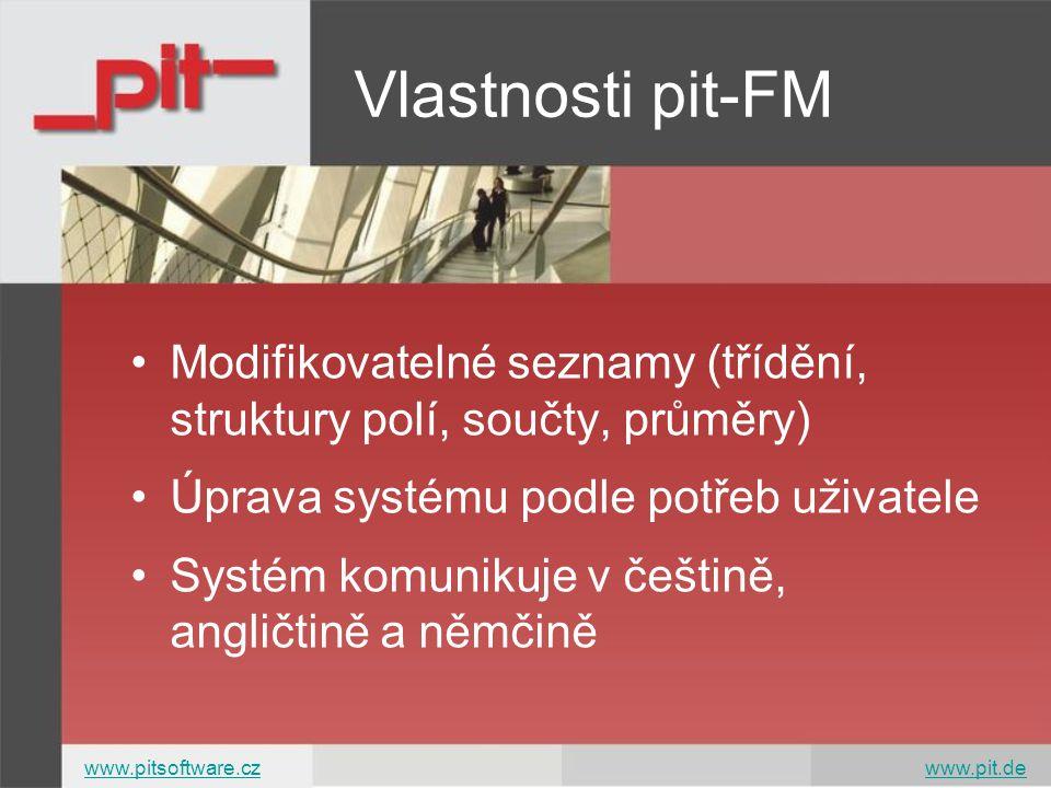 Modifikovatelné seznamy (třídění, struktury polí, součty, průměry) Úprava systému podle potřeb uživatele Systém komunikuje v češtině, angličtině a němčině Vlastnosti pit-FM www.pitsoftware.czwww.pitsoftware.cz www.pit.dewww.pit.de