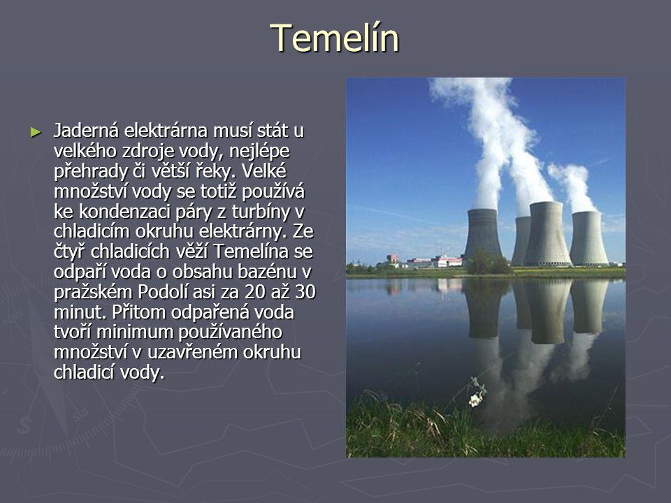 Temelín ►J►J►J►Jaderná elektrárna musí stát u velkého zdroje vody, nejlépe přehrady či větší řeky.