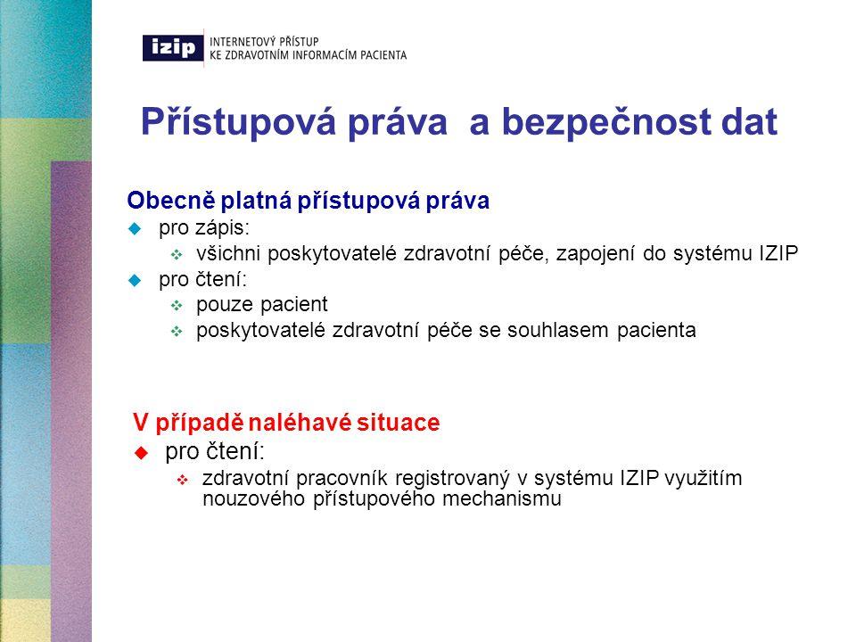 Přístupová práva a bezpečnost dat Obecně platná přístupová práva  pro zápis:  všichni poskytovatelé zdravotní péče, zapojení do systému IZIP  pro č