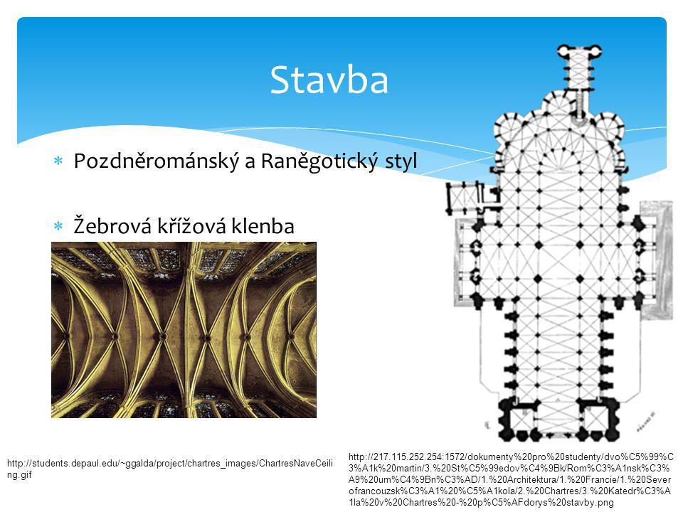  Pozdněrománský a Raněgotický styl  Žebrová křížová klenba Stavba http://students.depaul.edu/~ggalda/project/chartres_images/ChartresNaveCeili ng.gi