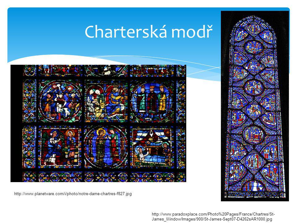 Charterská modř http://www.paradoxplace.com/Photo%20Pages/France/Chartres/St- James_Window/Images/900/St-James-Sept07-D4262sAR1000.jpg http://www.plan