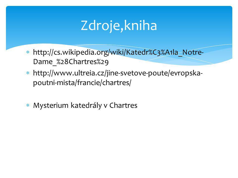  http://cs.wikipedia.org/wiki/Katedr%C3%A1la_Notre- Dame_%28Chartres%29  http://www.ultreia.cz/jine-svetove-poute/evropska- poutni-mista/francie/cha