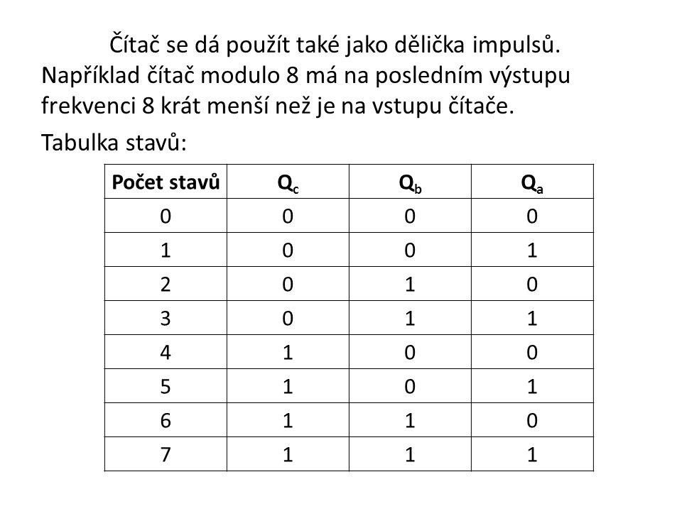 Čítač se dá použít také jako dělička impulsů. Například čítač modulo 8 má na posledním výstupu frekvenci 8 krát menší než je na vstupu čítače. Tabulka
