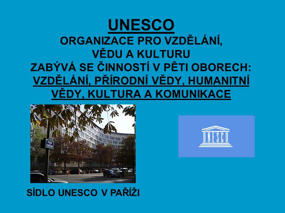 UNESCO ORGANIZACE PRO VZDĚLÁNÍ, VĚDU A KULTURU ZABÝVÁ SE ČINNOSTÍ V PĚTI OBORECH: VZDĚLÁNÍ, PŘÍRODNÍ VĚDY, HUMANITNÍ VĚDY, KULTURA A KOMUNIKACE SÍDLO