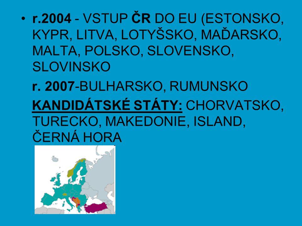 r.2004 - VSTUP ČR DO EU (ESTONSKO, KYPR, LITVA, LOTYŠSKO, MAĎARSKO, MALTA, POLSKO, SLOVENSKO, SLOVINSKO r. 2007-BULHARSKO, RUMUNSKO KANDIDÁTSKÉ STÁTY: