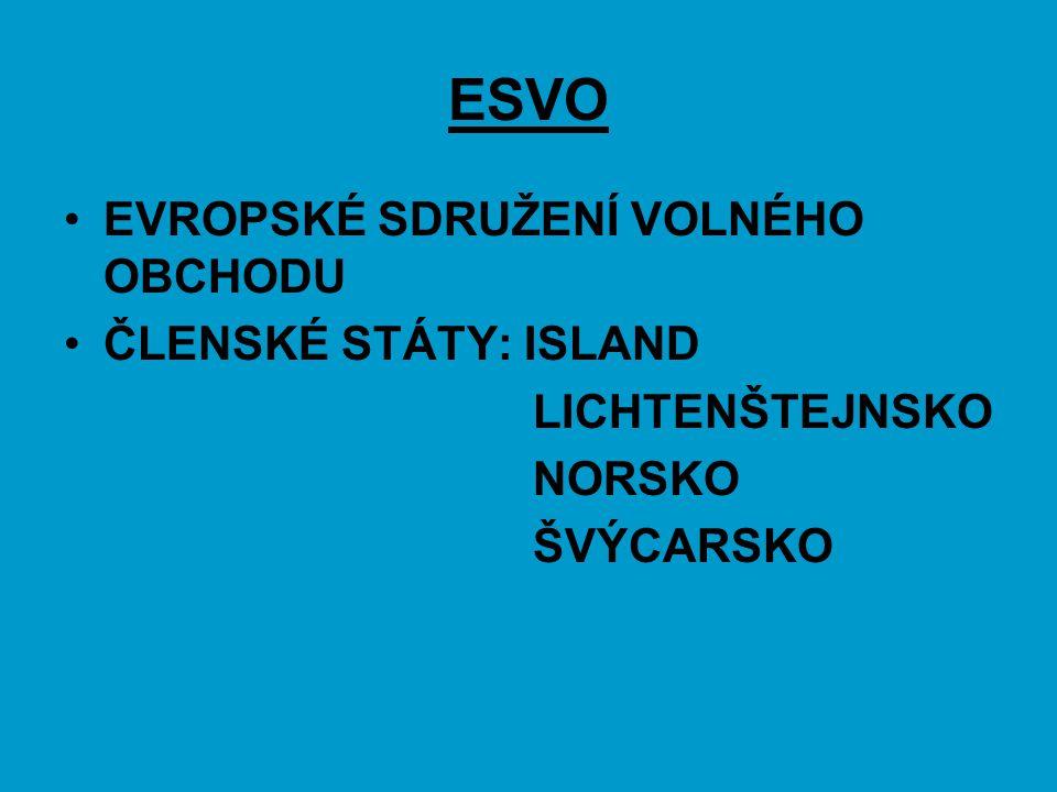 ESVO EVROPSKÉ SDRUŽENÍ VOLNÉHO OBCHODU ČLENSKÉ STÁTY: ISLAND LICHTENŠTEJNSKO NORSKO ŠVÝCARSKO