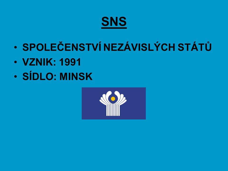 SNS SPOLEČENSTVÍ NEZÁVISLÝCH STÁTŮ VZNIK: 1991 SÍDLO: MINSK