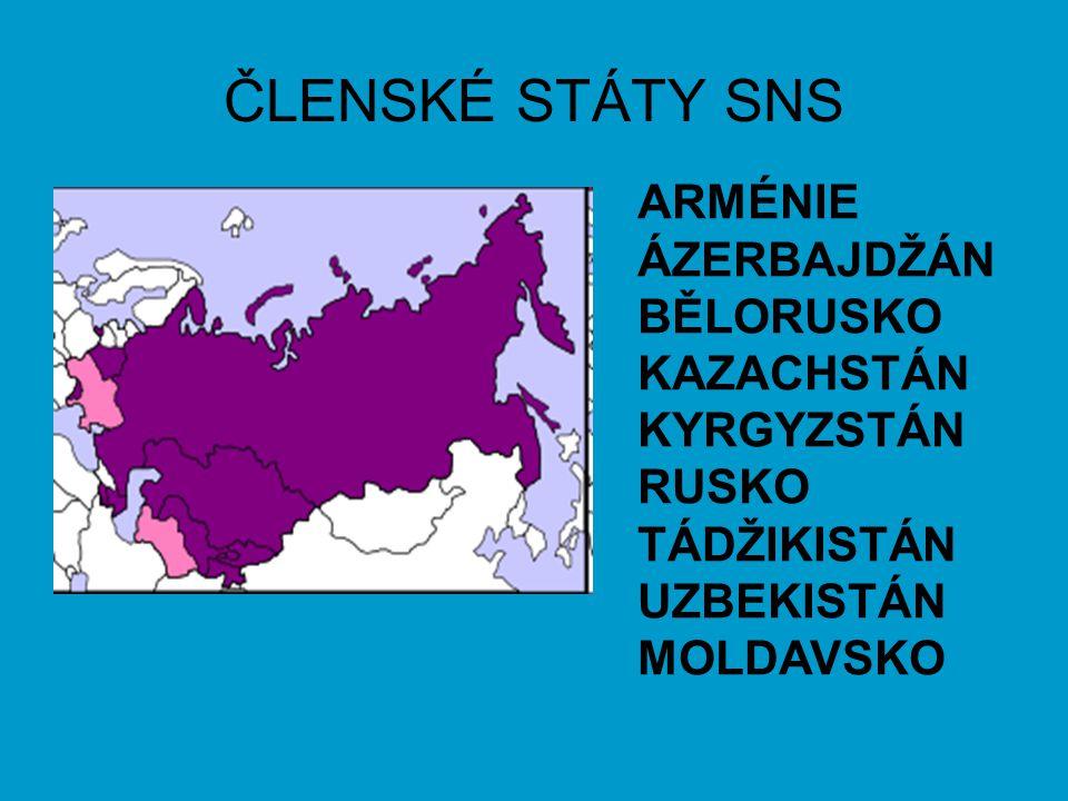 ČLENSKÉ STÁTY SNS ARMÉNIE ÁZERBAJDŽÁN BĚLORUSKO KAZACHSTÁN KYRGYZSTÁN RUSKO TÁDŽIKISTÁN UZBEKISTÁN MOLDAVSKO