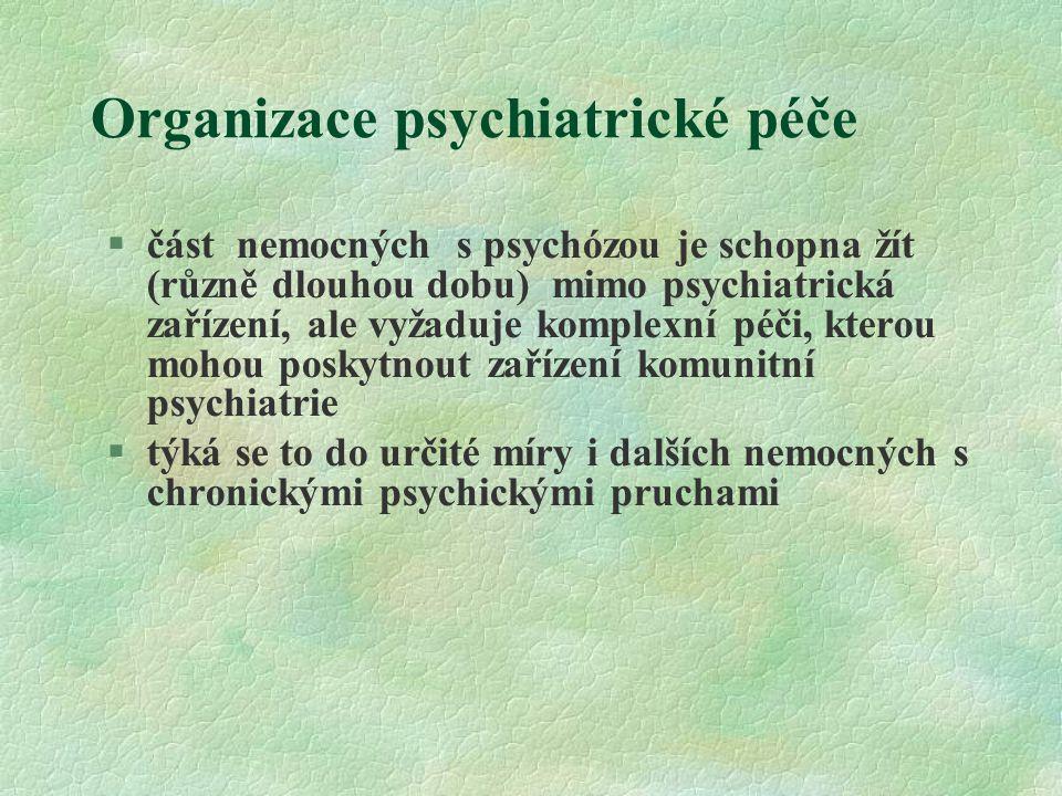 Organizace psychiatrické péče §část nemocných s psychózou je schopna žít (různě dlouhou dobu) mimo psychiatrická zařízení, ale vyžaduje komplexní péči