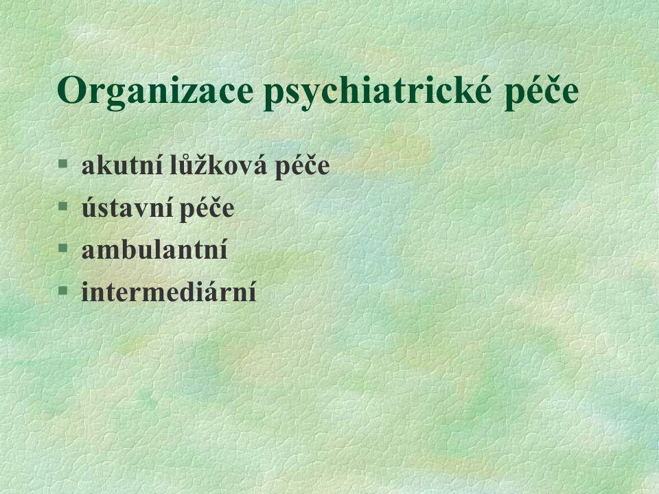 Organizace psychiatrické péče Akutní lůžková péče: §psychiatrické kliniky v rámci fakultních nemocnic ( pouze 6 v ČR) §psychiatrická oddělení nemocnic §psychiatrické léčebny