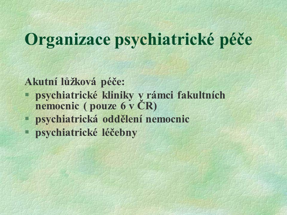 Organizace psychiatrické péče Kdy hospitalizace.