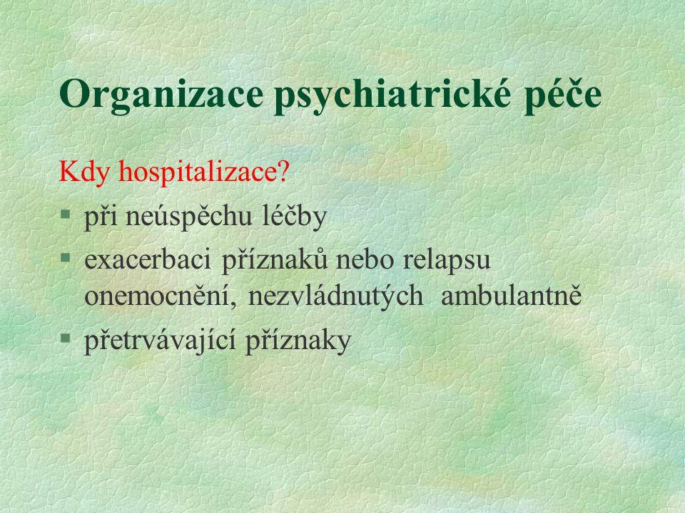 Organizace psychiatrické péče Kdy hospitalizace? §při neúspěchu léčby §exacerbaci příznaků nebo relapsu onemocnění, nezvládnutých ambulantně §přetrváv