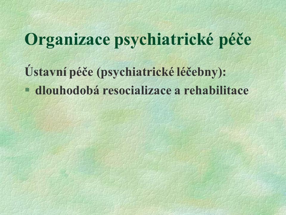 Organizace psychiatrické péče Celosvětový trend: § postupný přesun diagnostiky a léčby řady psychických poruch k lékařům první linie, tj.k praktickým lékařům §hlavně depresivní porucha Proč.