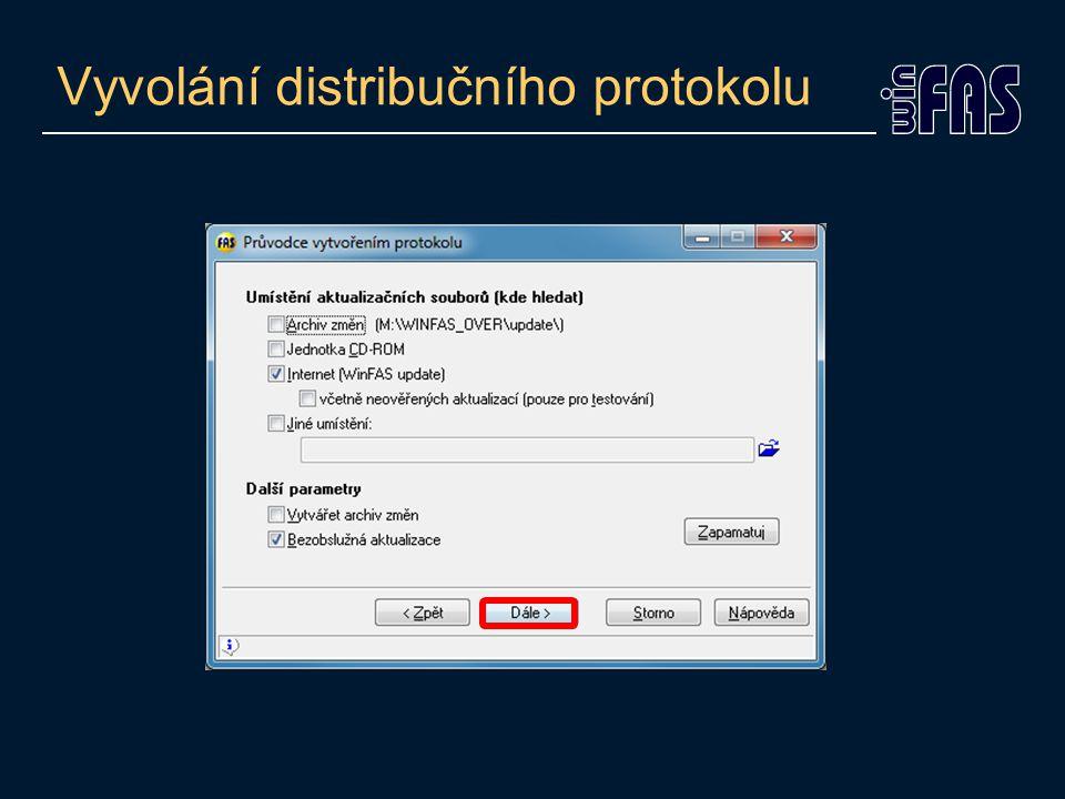 Vyvolání distribučního protokolu