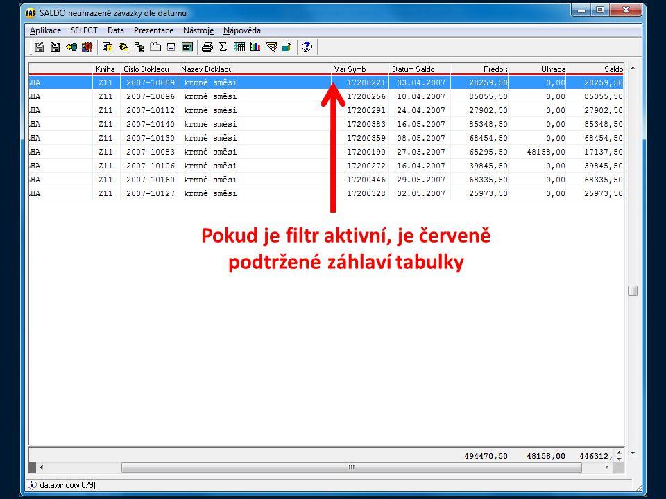 Pokud je filtr aktivní, je červeně podtržené záhlaví tabulky