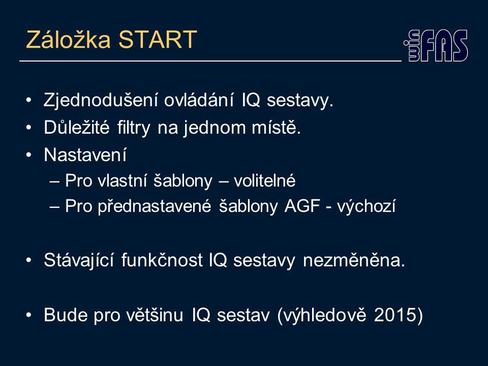 Záložka START Zjednodušení ovládání IQ sestavy. Důležité filtry na jednom místě.