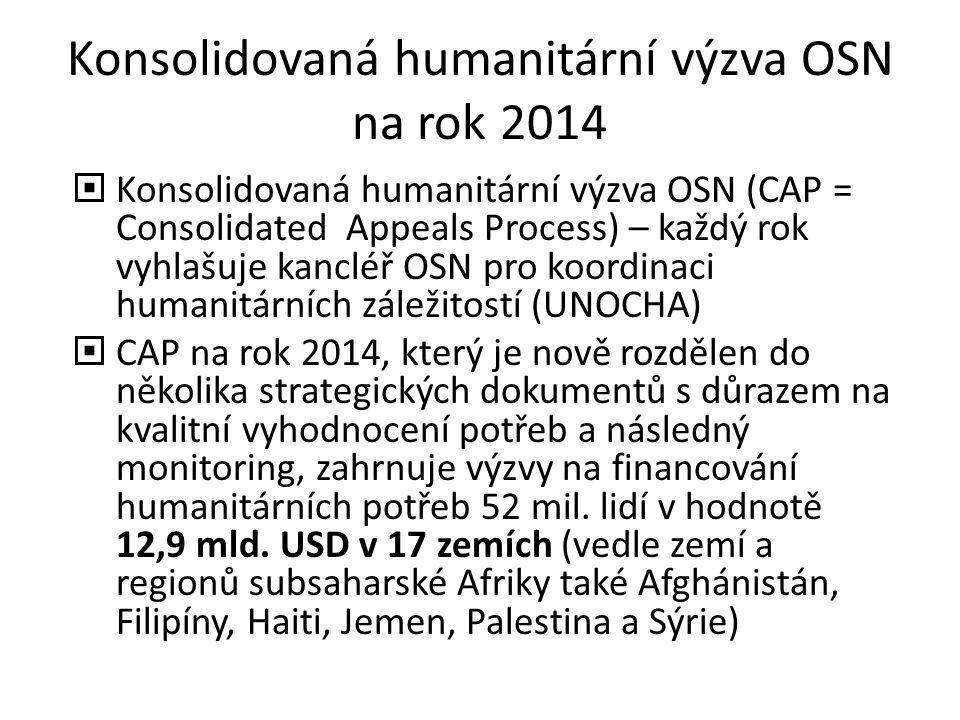Konsolidovaná humanitární výzva OSN na rok 2014  Konsolidovaná humanitární výzva OSN (CAP = Consolidated Appeals Process) – každý rok vyhlašuje kancl