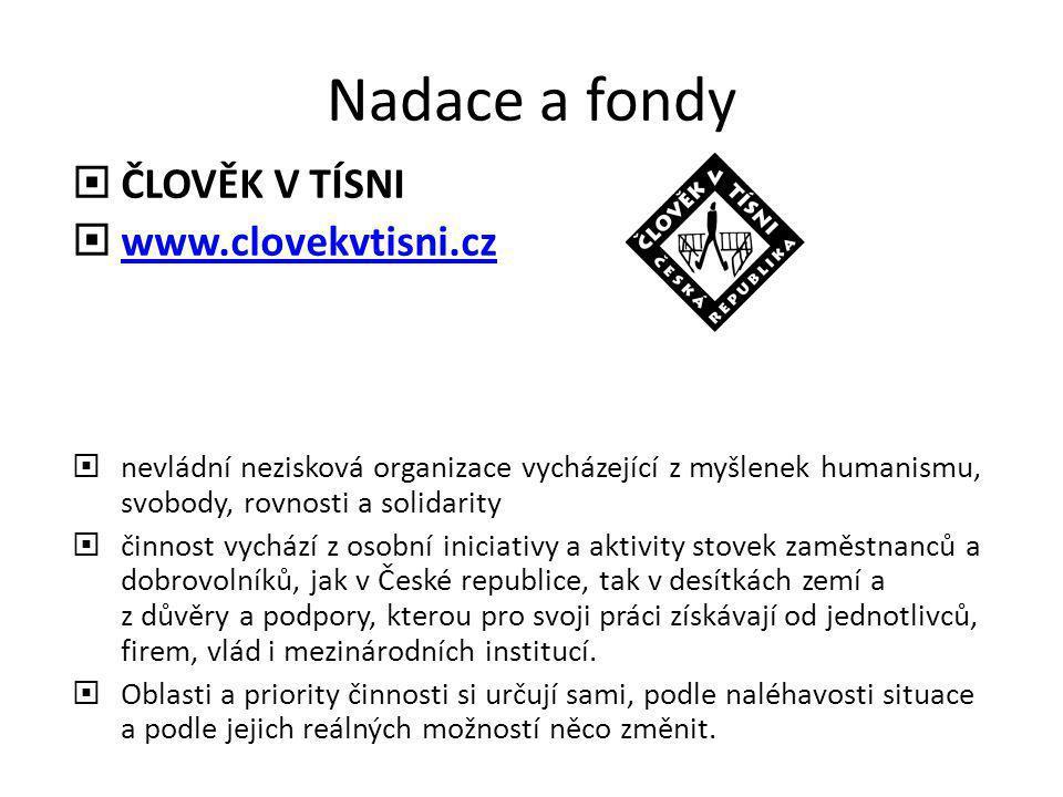 Nadace a fondy  ČLOVĚK V TÍSNI  www.clovekvtisni.cz www.clovekvtisni.cz  nevládní nezisková organizace vycházející z myšlenek humanismu, svobody, r