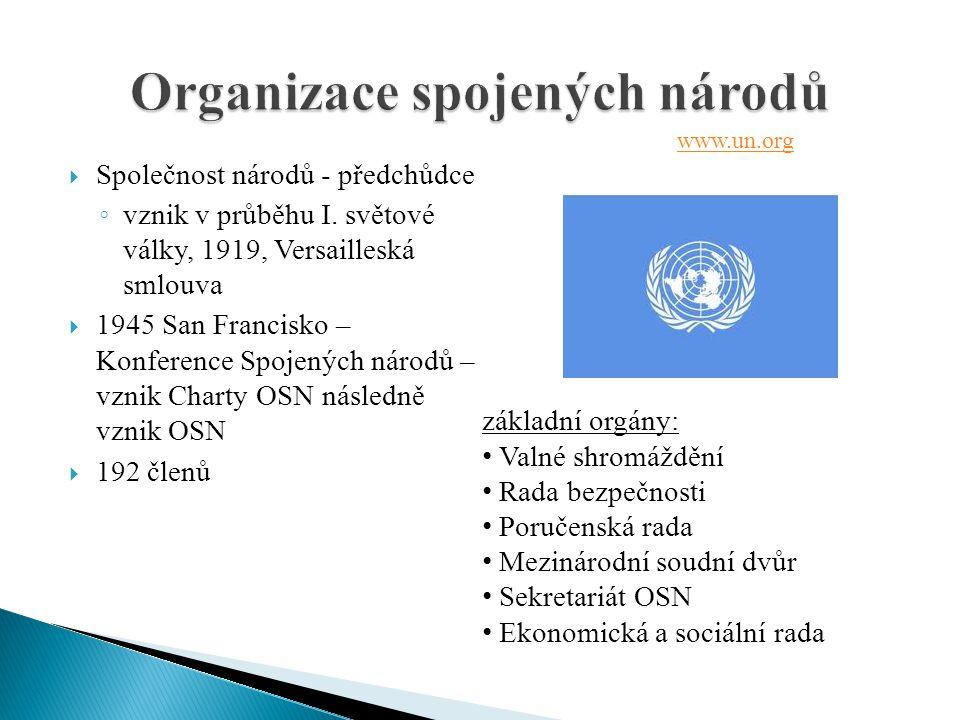 Společnost národů - předchůdce ◦ vznik v průběhu I. světové války, 1919, Versailleská smlouva  1945 San Francisko – Konference Spojených národů – v