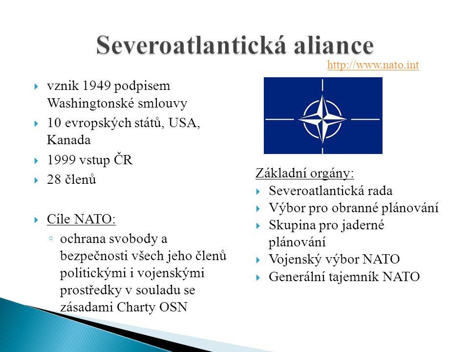  vznik 1949 podpisem Washingtonské smlouvy  10 evropských států, USA, Kanada  1999 vstup ČR  28 členů  Cíle NATO: ◦ ochrana svobody a bezpečnosti