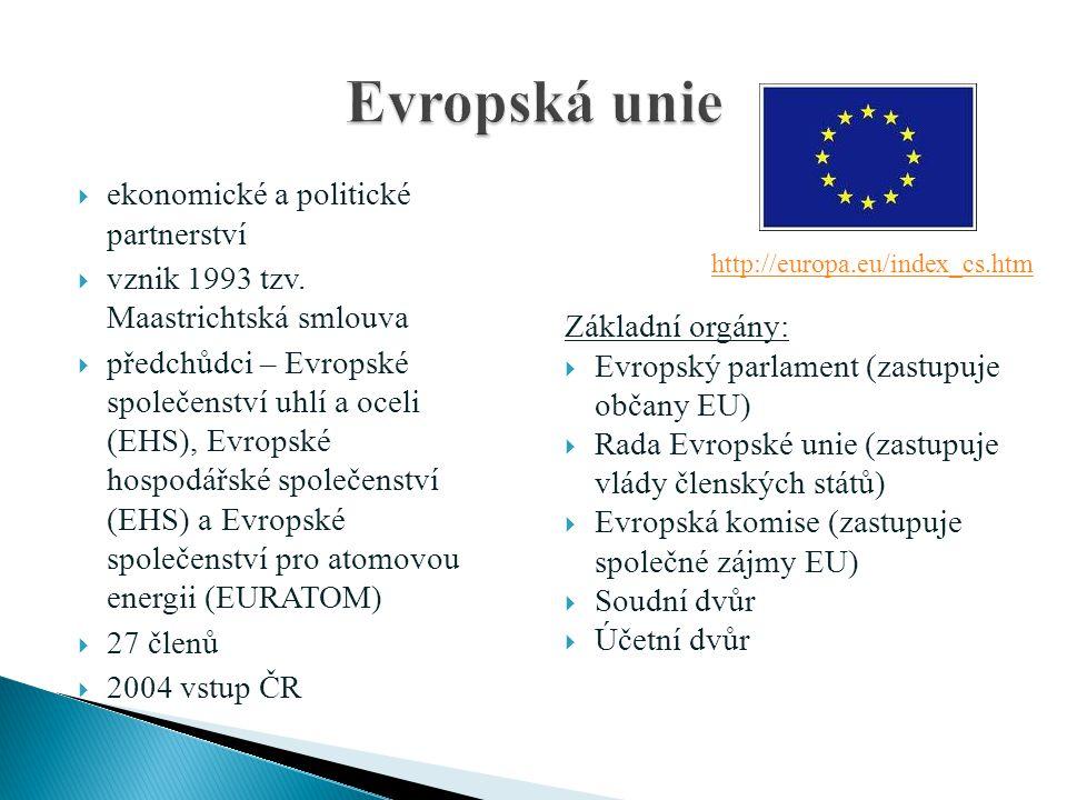  ekonomické a politické partnerství  vznik 1993 tzv. Maastrichtská smlouva  předchůdci – Evropské společenství uhlí a oceli (EHS), Evropské hospodá