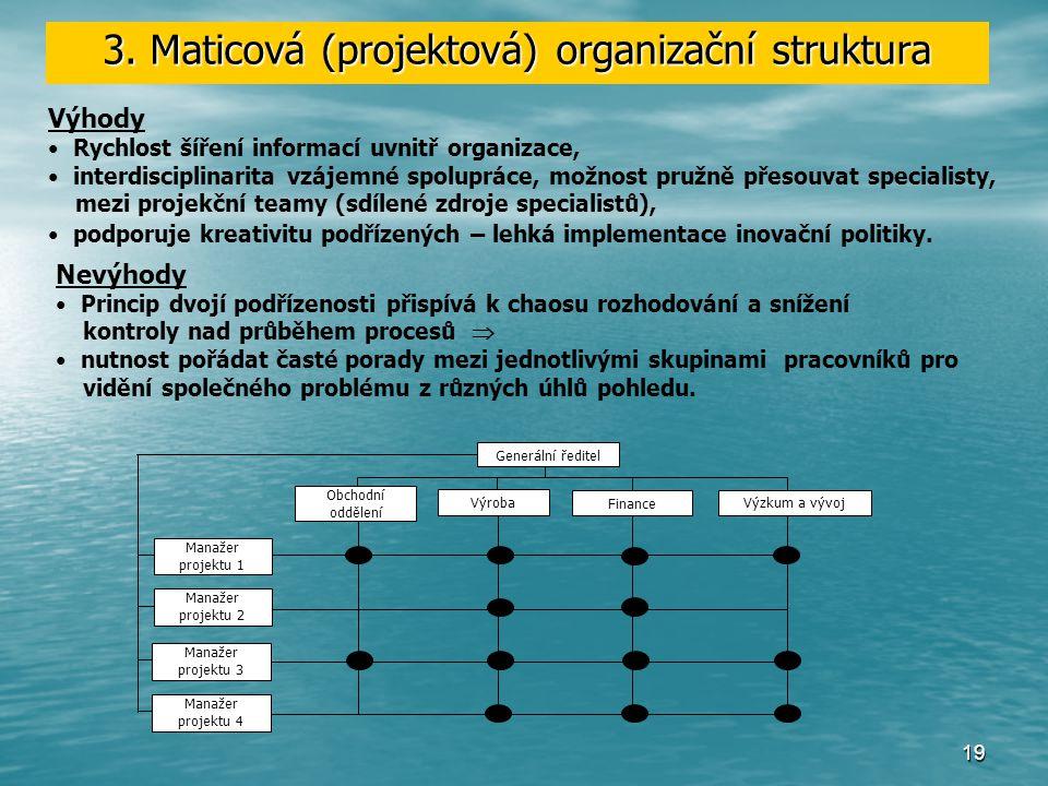 18 Snaha o eliminaci nevýhod divizionálního uspořádání (autonomnost divizí způsobuje plýtvání zdrojů a duplicitu funkcí), výhodami funkčního schématu vedla ke dvojímu způsobům dělby práci v jedné organizace  porušuje Faylorovu zásadu jednoho nadřízeného.