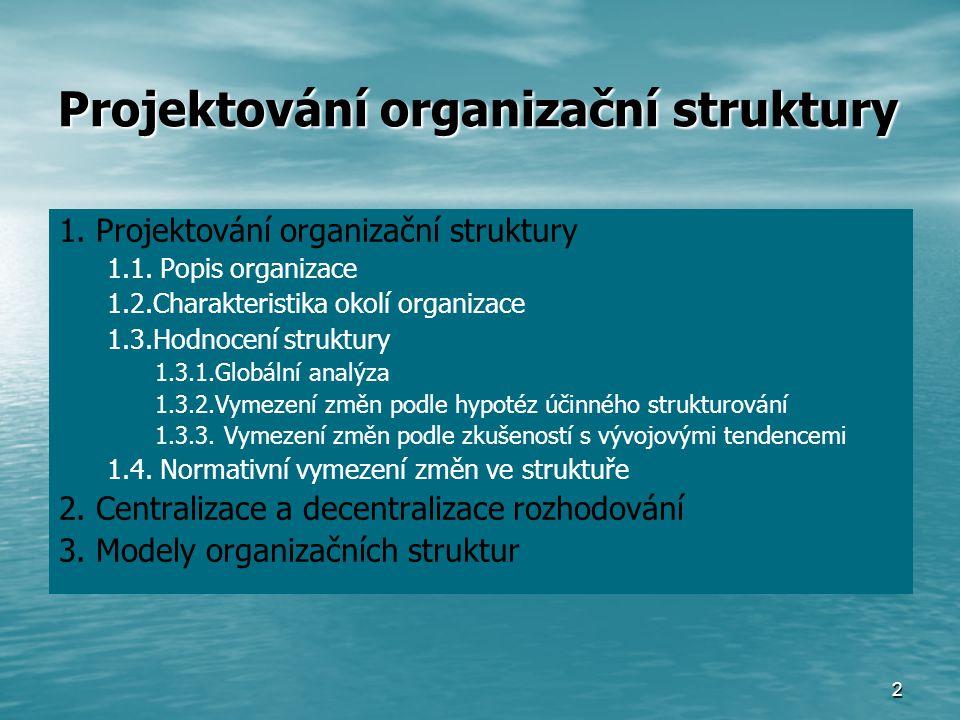 2 1.Projektování organizační struktury 1.1.