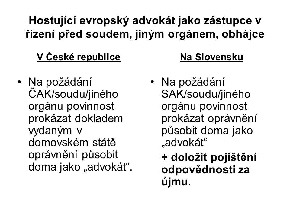Hostující evropský advokát jako zástupce v řízení před soudem, jiným orgánem, obhájce V České republice Na požádání ČAK/soudu/jiného orgánu povinnost