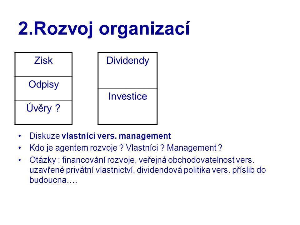 2.Rozvoj organizací Diskuze vlastníci vers. management Kdo je agentem rozvoje ? Vlastníci ? Management ? Otázky : financování rozvoje, veřejná obchodo