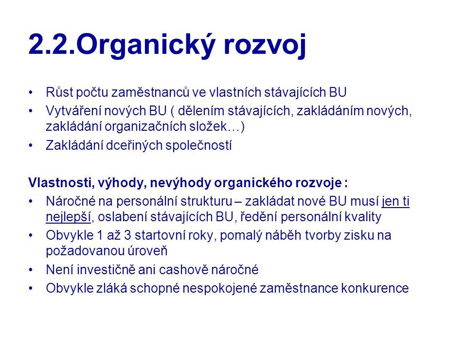 2.2.Organický rozvoj Růst počtu zaměstnanců ve vlastních stávajících BU Vytváření nových BU ( dělením stávajících, zakládáním nových, zakládání organi