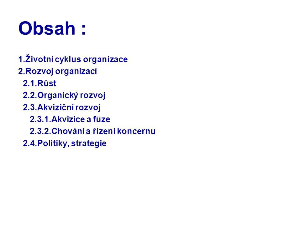 Obsah : 1.Životní cyklus organizace 2.Rozvoj organizací 2.1.Růst 2.2.Organický rozvoj 2.3.Akviziční rozvoj 2.3.1.Akvizice a fůze 2.3.2.Chování a řízen