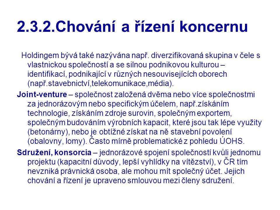2.3.2.Chování a řízení koncernu Holdingem bývá také nazývána např. diverzifikovaná skupina v čele s vlastnickou společností a se silnou podnikovou kul