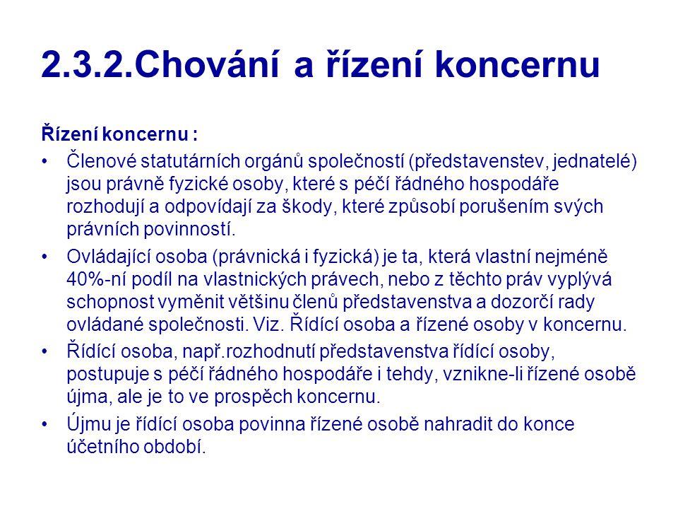 2.3.2.Chování a řízení koncernu Řízení koncernu : Členové statutárních orgánů společností (představenstev, jednatelé) jsou právně fyzické osoby, které