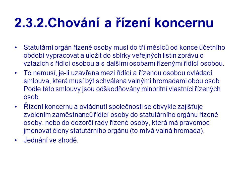 2.3.2.Chování a řízení koncernu Statutární orgán řízené osoby musí do tří měsíců od konce účetního období vypracovat a uložit do sbírky veřejných list